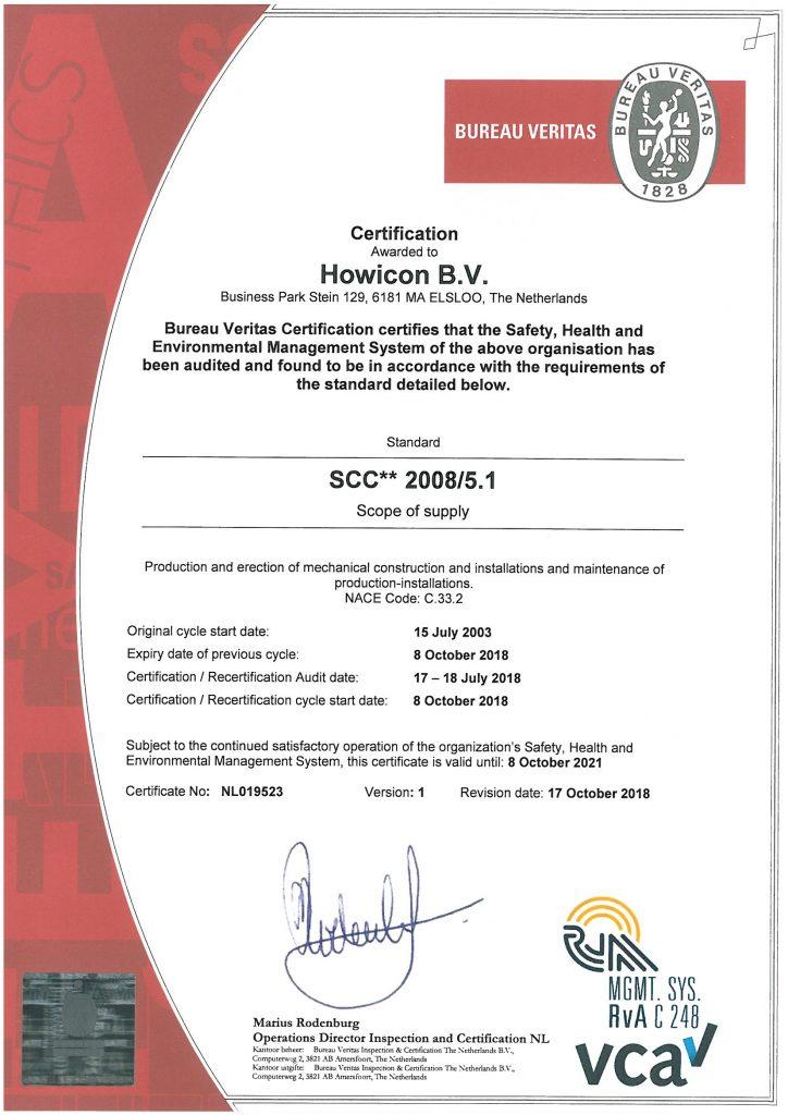 Overzicht van certificeringen Howicon